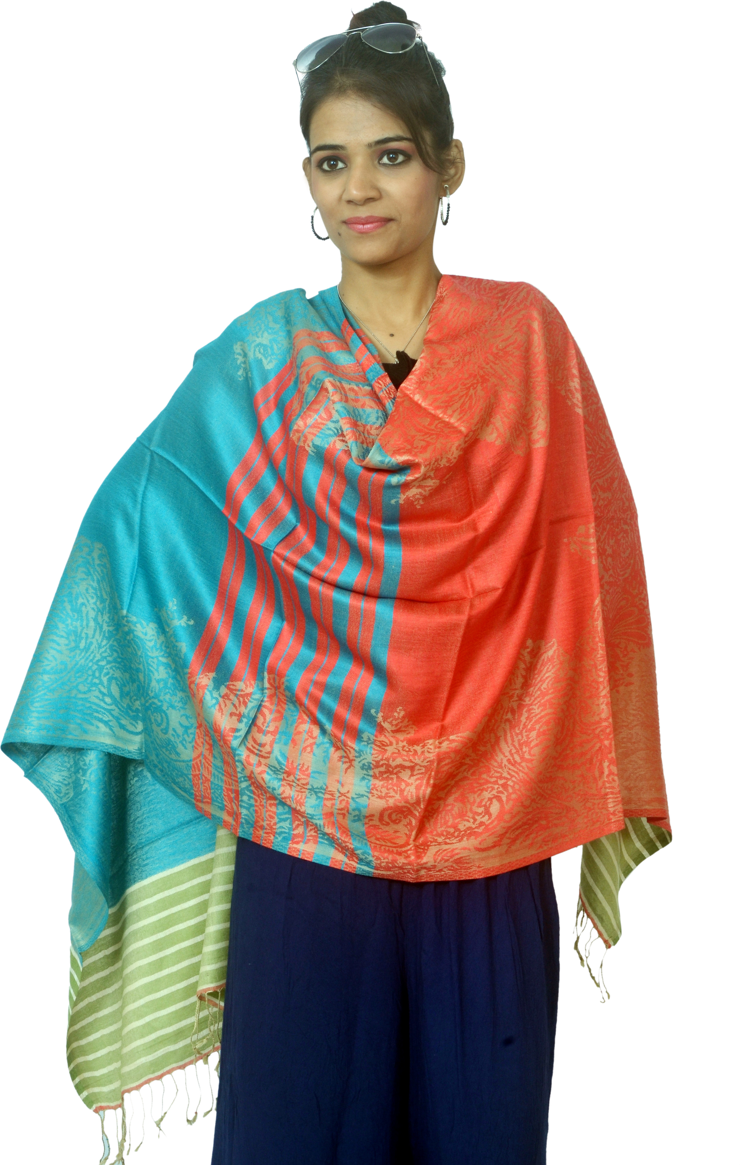 Cloud9Emporio Sat00036 Viscose Striped Womens Shawl