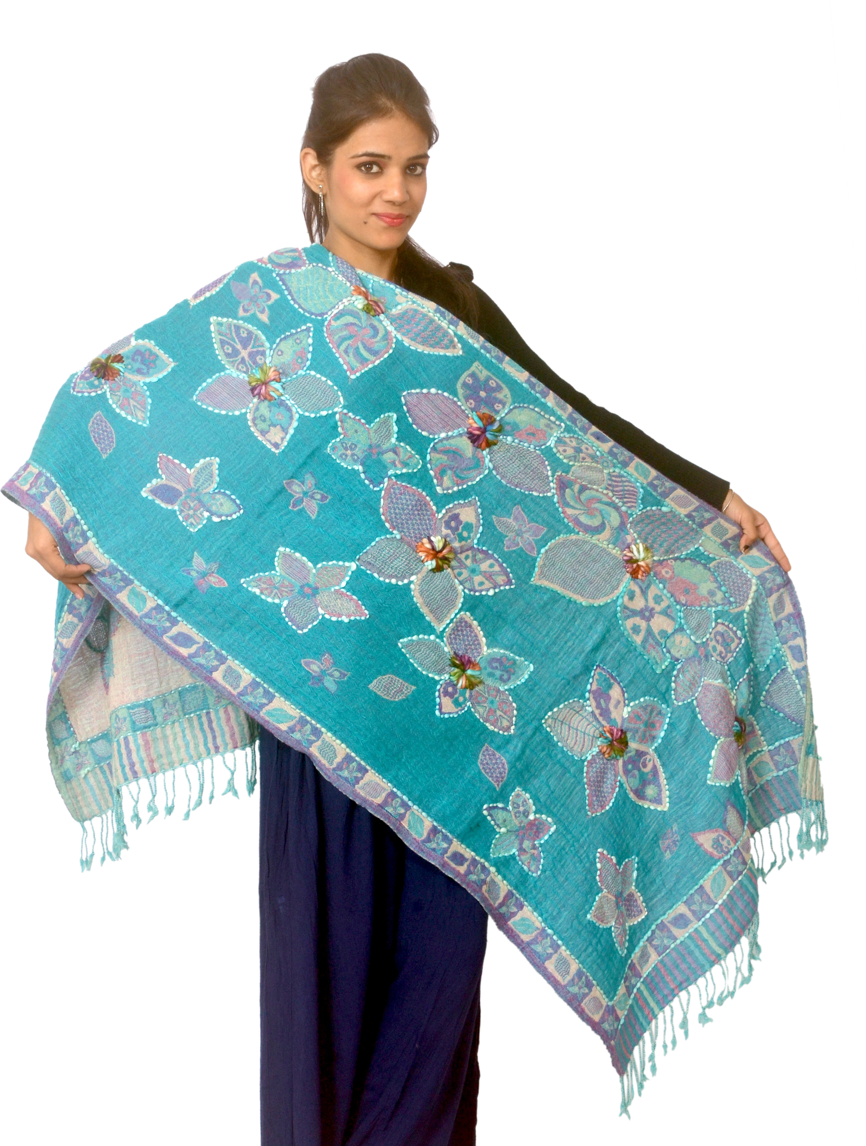 Cloud9Emporio Sat0041 Wool Floral Print Womens Shawl