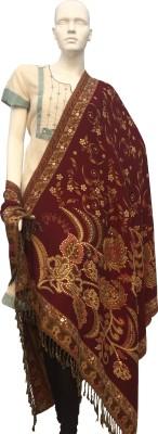 Jupi Wool Embellished, Floral Print, Self Design Women's Shawl