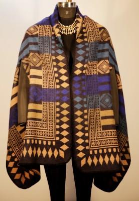 Winterglow Wool, Polyester Geometric Print Women's Shawl