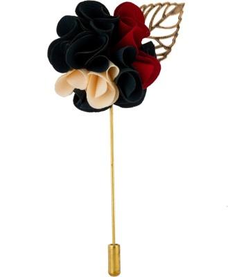 Avaron Projekt Handmade Red White Bunch Flower Stainless Steel Sliding Pin Shirt Stud