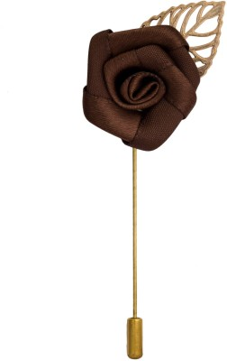 Avaron Projekt Handmade Brown Rose With Gold Leaf Stainless Steel Sliding Pin Shirt Stud