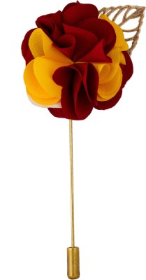 Avaron Projekt Handmade Maroon Yellow Bunch Flower Stainless Steel Sliding Pin Shirt Stud