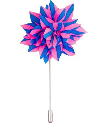 Avaron Projekt Handmade Pink And Blue Flower Stainless Steel Sliding Pin Shirt Stud