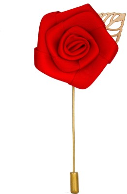 Avaron Projekt Handmade Big Red Rose With Gold Leaf Stainless Steel Sliding Pin Shirt Stud