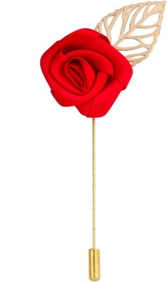 Avaron Projekt Handmade Maroon Rose With Gold Leaf Stainless Steel Sliding Pin Shirt Stud