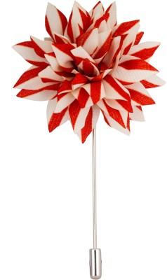 Avaron Projekt Handmade Red And White Flower Stainless Steel Sliding Pin Shirt Stud