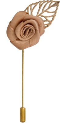 Avaron Projekt Handmade Beige Rose With Gold Leaf Stainless Steel Sliding Pin Shirt Stud