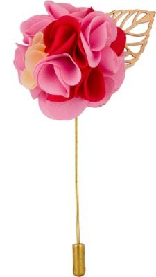 Avaron Projekt Handmade Pink Red Bunch Flower Stainless Steel Sliding Pin Shirt Stud