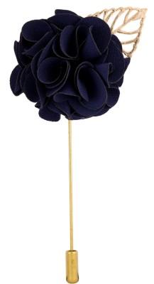 Avaron Projekt Handmade Deep Blue Bunch Flower Stainless Steel Sliding Pin Shirt Stud