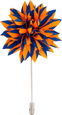 Avaron Projekt Handmade Orange And Royal Blue Flower Stainless Steel Sliding Pin Shirt Stud