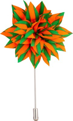 Avaron Projekt Handmade Orange And Green Flower Stainless Steel Sliding Pin Shirt Stud
