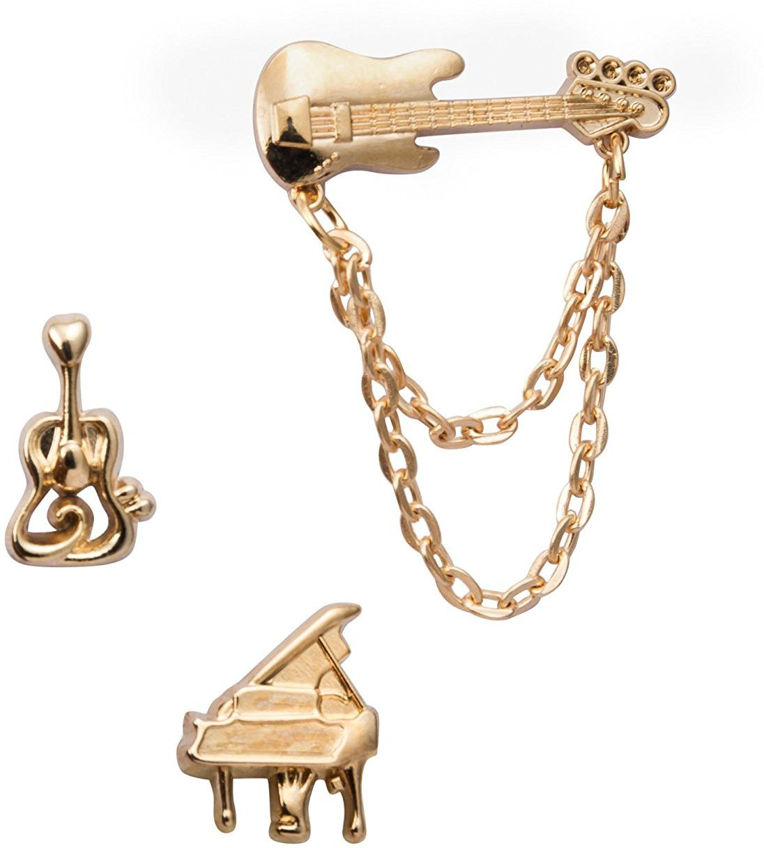Knighthood Set of Music Instruments Nickel Fixed Back Shirt Stud(Gold)