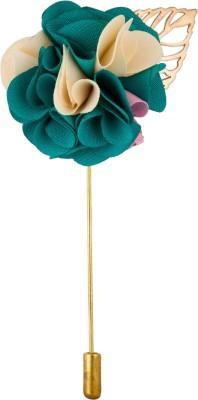 Avaron Projekt Handmade Emerald Green Bunch Flower Stainless Steel Sliding Pin Shirt Stud