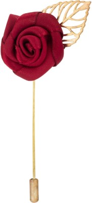 Knighthood Maroon Rose With Golden Leaf Stainless Steel Sliding Pin Shirt Stud