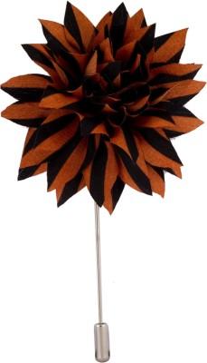 Avaron Projekt Handmade Brown Black Flower Stainless Steel Sliding Pin Shirt Stud