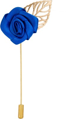 Avaron Projekt Handmade Royal Blue Rose With Gold Leaf Stainless Steel Sliding Pin Shirt Stud