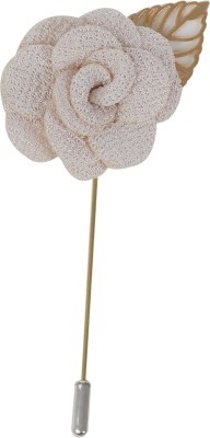 Outdazzle Designer Handmade Lapel Flower With Golden Leaf 26 Stainless Steel Sliding Pin Shirt Stud