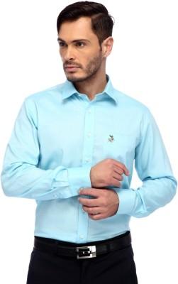 FRANK JEFFERSON Men's Solid Casual Blue Shirt