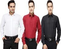 Frankline Formal Shirts (Men's) - FranklinePlus Men's Solid Formal Multicolor Shirt(Pack of 3)
