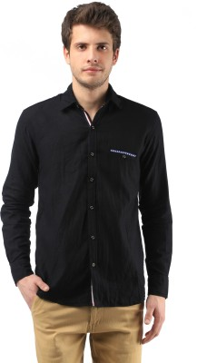 Orizzonti Men's Solid Casual Black Shirt