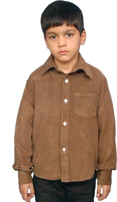 Fashion N Style Boy's Solid Casual Brown Shirt