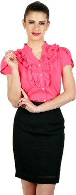 Eyelet Women's Solid Casual Pink Shirt