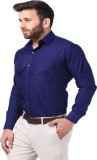 Mesh Men's Solid Formal Blue Shirt