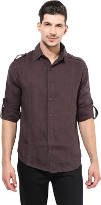Punk Men's Solid Casual Brown Shirt