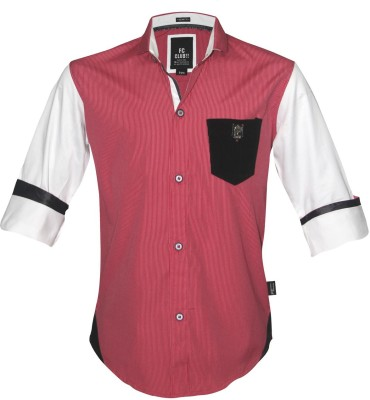 Fingerchips Boys Solid Party Red, White Shirt