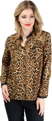 Pink Lace Women's Animal Print Casual Multicolor Shirt
