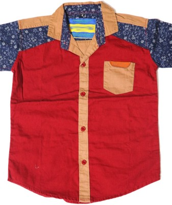 Kidicious Boy's Printed Casual Maroon, Blue, Brown Shirt