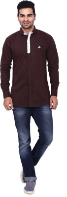 Coloroid Men's Solid Casual Brown Shirt