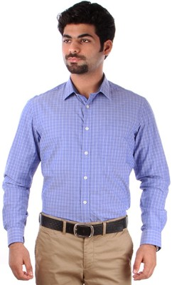 Indian Terrain Men's Checkered, Striped Casual Purple, White Shirt