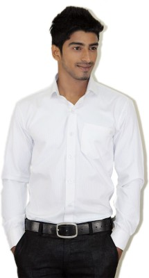 Piccolo Clothings Men's Striped Formal White Shirt
