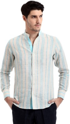 Yell Men's Solid Casual Linen Blue Shirt