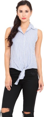 La Stella Women's Striped Casual Blue, White Shirt