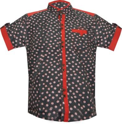 JBN Creation Boy's Polka Print Casual Black, Red Shirt
