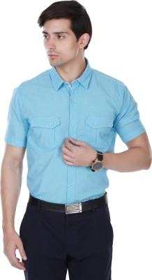 Cotton County Men's Self Design Casual Light Blue Shirt