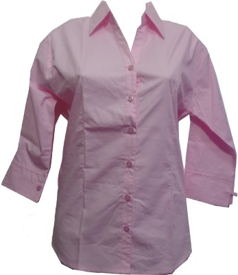 fashion point Women's Solid Formal Pink Shirt