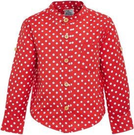 A Little Fable Boys Polka Print Casual Red Shirt
