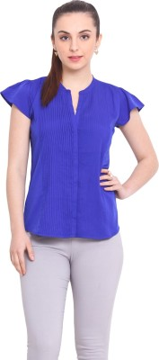 La Stella Women's Solid Casual Blue Shirt