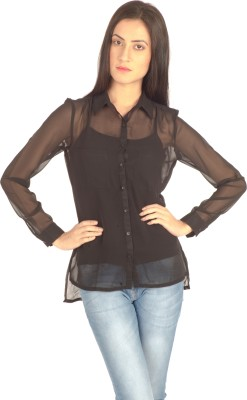Bombay High Women's Solid Casual Black Shirt