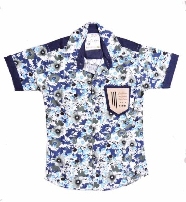 British Terminal Boy's Self Design Casual Dark Blue Shirt