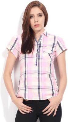 Wrangler Women's Checkered Casual White, Pink Shirt