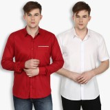 Stylox Men's Solid Casual Maroon, White ...