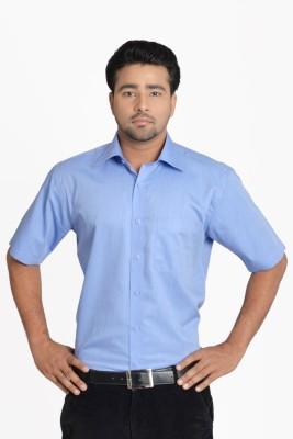 Hastings Men's Self Design Casual Blue Shirt
