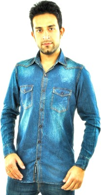 Feed Up Men's Solid Casual Denim Blue Shirt