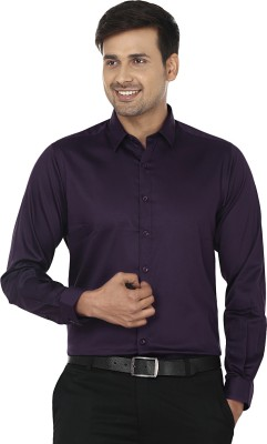 Wills Lifestyle Men's Solid Formal Purple Shirt