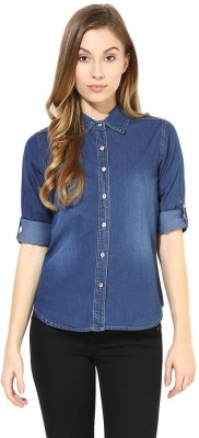 The Vanca Women's Solid Formal Denim Blue Shirt